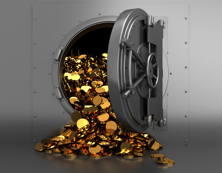 3d illustration of opened bank treasury full of golden coins