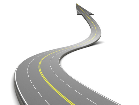 Foto de 3d illustration of highway with arrow, over white background - Imagen libre de derechos