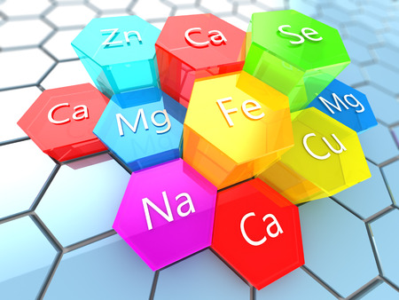 abstract 3d illustration of nutrition minerals labels over colorful hexagons