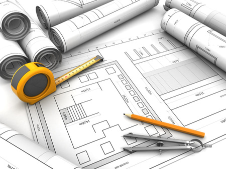 3d illustration of blueprints and drawing tools