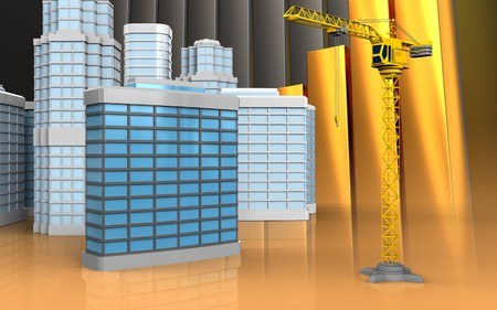 3d illustration of generic building with urban scene over golden charts background