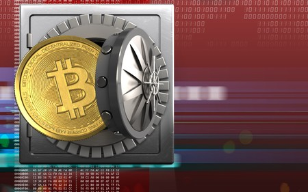 3d illustration of metal safe with bitcoin over digital red background