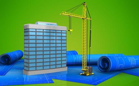 3d illustration of generic building over green background