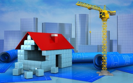 3d illustration of house blocks construction over skyscrappers background