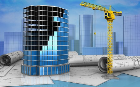 3d illustration of office building construction over skyscrappers background