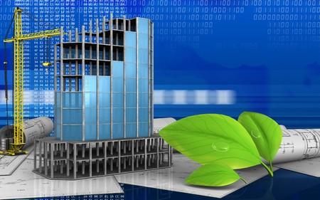 3d illustration of modern building frame with crane over digital background