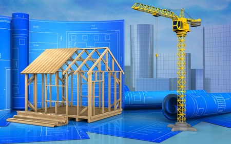 3d illustration of frame house construction with drawing roll over skyscrappers background