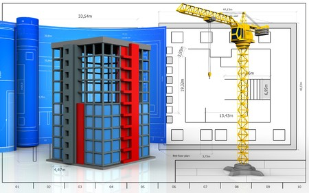 3d illustration of building construction with drawing roll over blueprint background