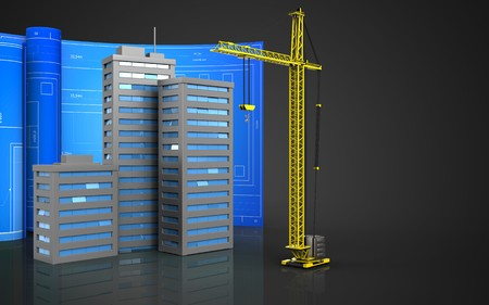 3d illustration of city buildings with drawing roll over black background
