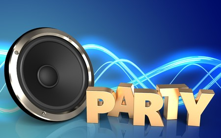 3d illustration of  over sound background with party sign