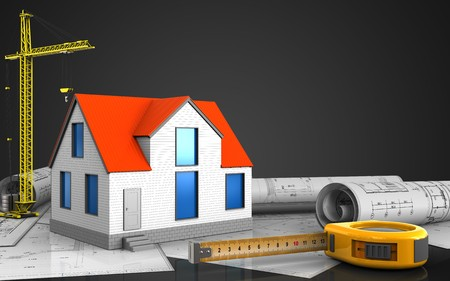 3d illustration of generic house with crane over black background