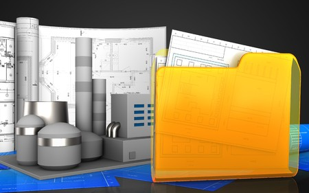 3d Illustration Of Factory With Drawings Over Black Background