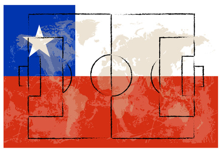 football court on Chile flag background vector illustration