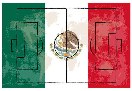football court on Mexico flag background vector illustration
