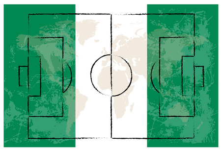 football court on nigeria flag background vector illustration