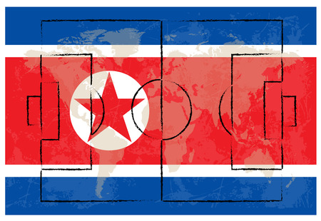 football court on North Korea flag background vector illustration