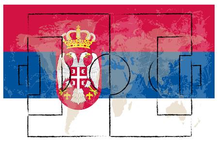 football court on serbia flag background vector illustration