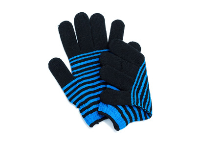 Blue Knit striped gloves isolated on white background