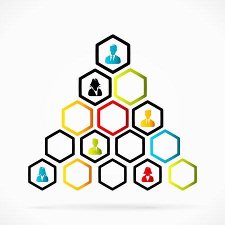 Group of business people structured as organizational pyramid