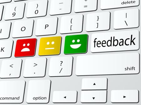 Illustration pour Online survey computer keyboard vector illustration - image libre de droit