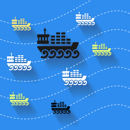 Abstract art illustration about cargo ships