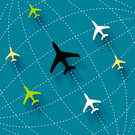 Abstract art illustration about planes and routes