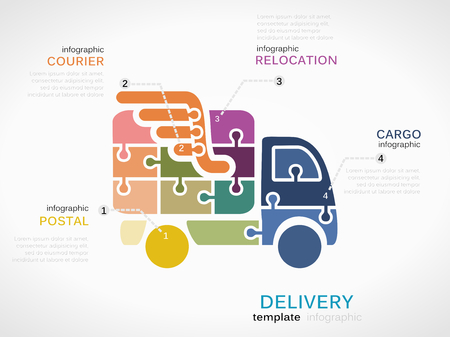 Delivery concept infographic template with truck made out of puzzle pieces