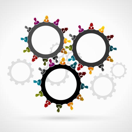 Foto de Synergy concept . Gear made out of business people silhouettes - Imagen libre de derechos