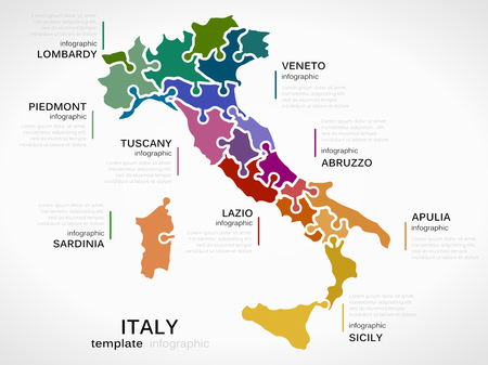 Map of Italy concept infographic template with regions made out of puzzle pieces