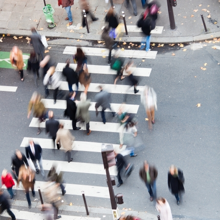 Photo for unrecognizable people crossing the road - Royalty Free Image