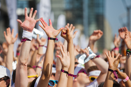 Photo for crowd of people raising Their hands and have fun - Royalty Free Image
