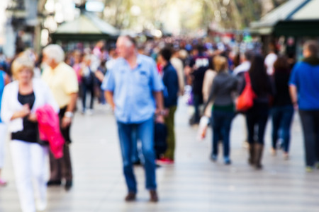 Photo for crowd of people out of focus on a strolling promenade - Royalty Free Image