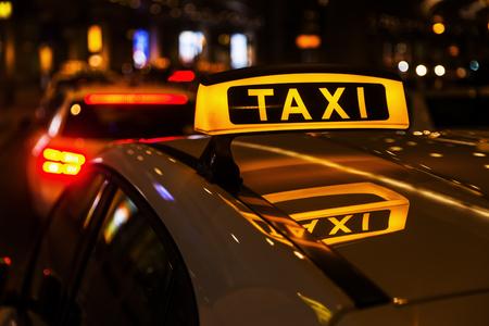 taxi cars at night