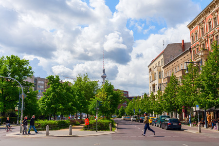 Berlin, Germany - May 15, 2016: street view at Prenzlauer Berg with unidentified people. Since 1920 Prenzlauer Berg was a Berlin district. 2001 it was incorporated into the district of Pankow