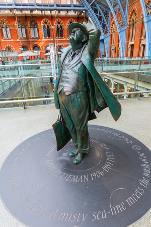 London, UK - June 16, 2016: Sir Betjeman Statue at St. Pancras Station in London. Sir John Betjeman was responsible for saving the Station and the Chambers from demolition in the 1960s