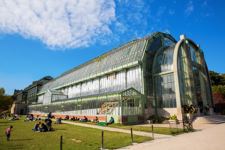 Paris, France - October 16, 2016: greenhouse in the Jardin des Plantes with unidentified people. The Jardin des Plantes is the main botanical garden in France