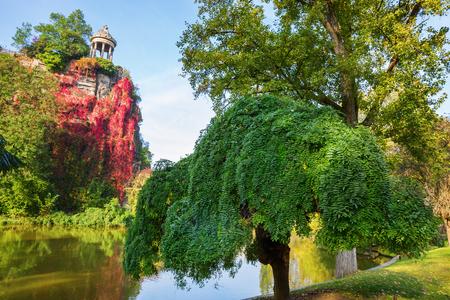 Temple de la Sibylle in the Parc des Buttes Chaumont in Paris, France, in autumn