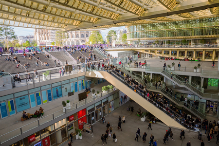 Paris, France - October 15, 2016: Forum Les Halles with unidentified people. It was the central fresh food market of Paris, then demolished in 1971 and replaced with a modern shopping mall