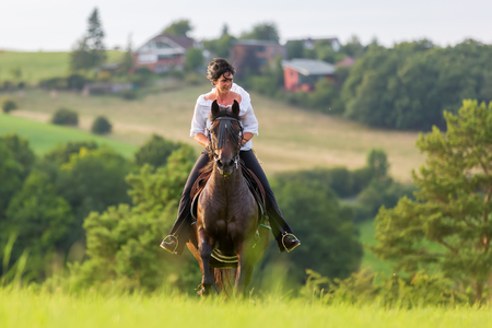 mature woman riding an Andalusian horse in a country landscape