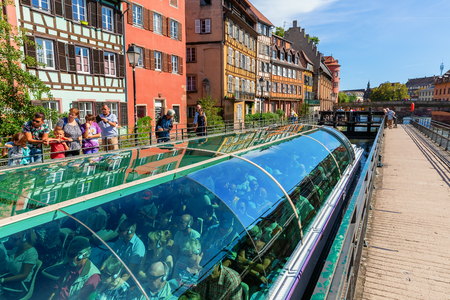 Strasbourg, France - September 09, 2018: La Petite France with unidentified people view. In the middle of it, the home for tanners, millers and fishermen. It is a main landmark