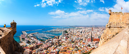 Alicante Santa Barbara castle with panoramic aerial view at the famous touristic city in Costa Blanca, Spain