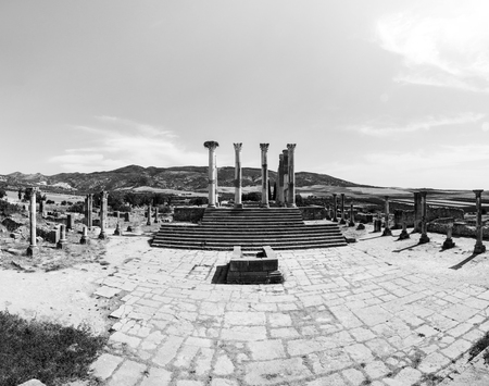 Volubilis, Morocco - touristic attraction and a Roman archaeological site situated near Meknes. Volubilis, Morocco is a colonial town of Roman Empire. Black and white