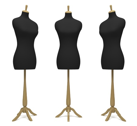 Tailors' dummies in a different position on a white background