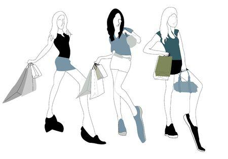 Illustration for Vector - Illustration of Shopping girl - Royalty Free Image