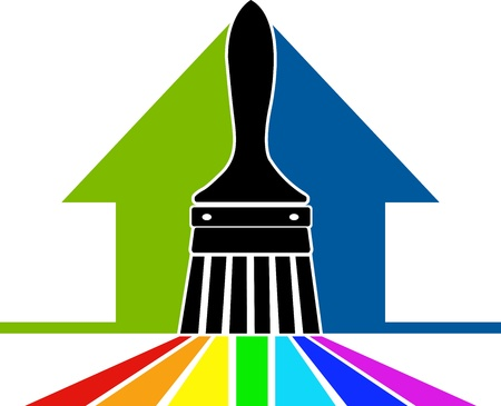 Illustration art of a paint brush logo with isolated background