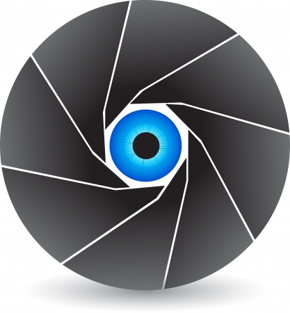 Illustration art of a eye shutter logo with isolated background