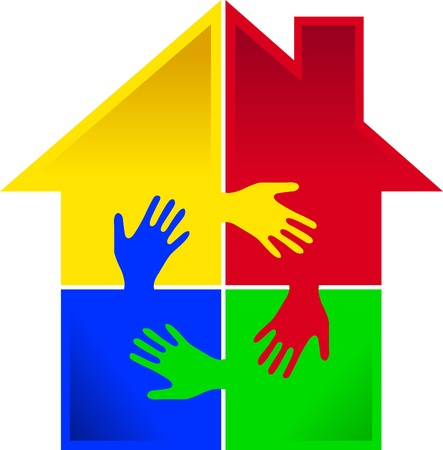 Illustration art of a puzzle hand home with isolated background