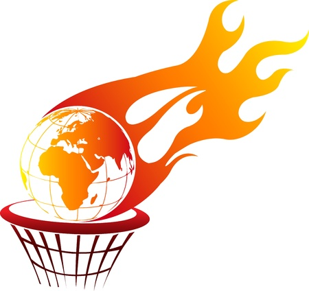 Illustration art of a Flaming fire globe with isolated background
