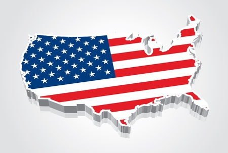3D Flag Map of the United States  USA