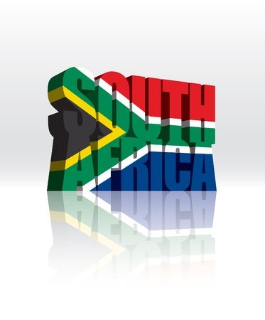 3D South Africa Word Text Flag